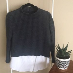Theory top with white shirt tail